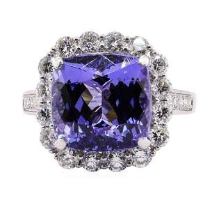 9.18 ctw Tanzanite and Diamond Ring - Platinum
