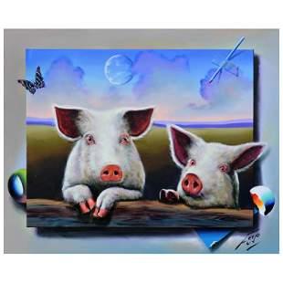 "Ferjo, ""Little Piggies"" Original Painting on Canvas,"