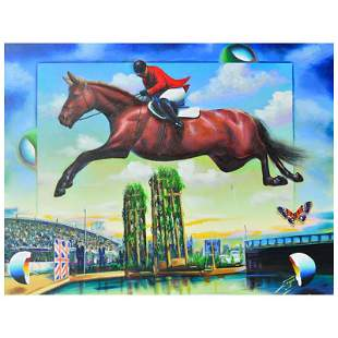 """Ferjo, """"Horse Jumping"""" Original Painting on Canvas,"""