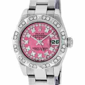 Rolex Ladies Stainless Steel Quickset Pink String