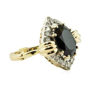 5.75 ctw Oval Brilliant Onyx And Diamond Ring - 14KT