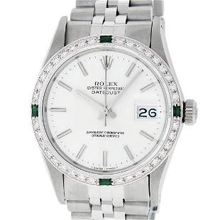 Rolex Mens Stainless Steel Silver Index Diamond 36MM