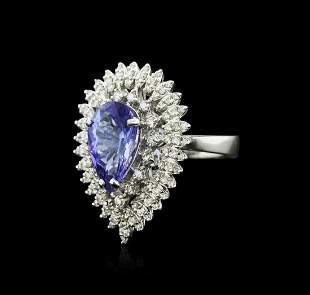 14KT White Gold 4.05 ctw Tanzanite and Diamond Ring
