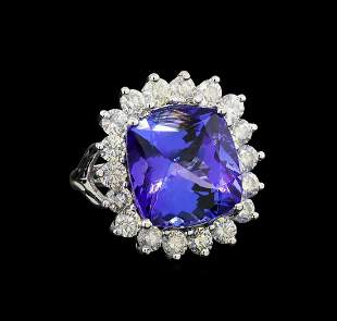 GIA Cert 13.03 ctw Tanzanite and Diamond Ring - 14KT