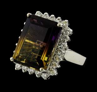 12.15 ctw Ametrine Quartz and Diamond Ring - 14KT White