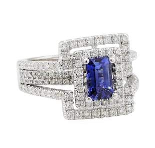 2.40 ctw Sapphire and Diamond Ring - 14KT White Gold