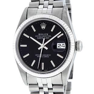 Rolex Mens Stainless Steel Black Index 36mm Datejust