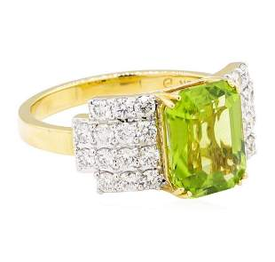 3.49 ctw Emerald Cut Step Peridot And Round Brilliant