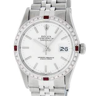 Rolex Mens Stainless Steel Silver Index Diamond & Ruby