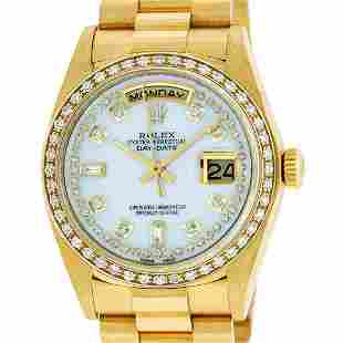 Rolex Mens 18K Yellow Gold MOP String Diamond Quickset