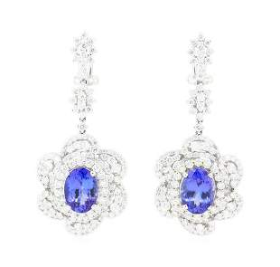 11.90 ctw Tanzanite And Diamond Earrings - 18KT White