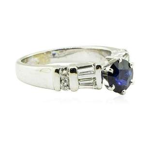 1.89 ctw Round Brilliant Blue Sapphire And Diamond Ring
