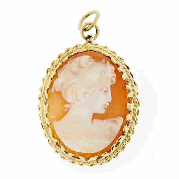 Vintage 14k Yellow Gold Carved Shell Cameo Dual Twisted
