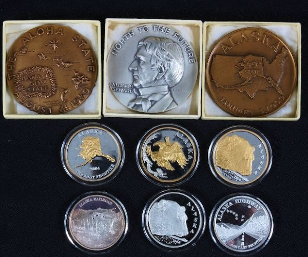 18: Collection of Commemorative Art Medals (3) and Coin
