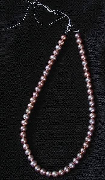 22: Loose Strand Cultured Dark Coral Pearls 7.5-8mm app