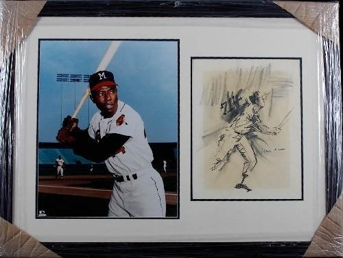 21: Hank Aaron Autographed Litho & Photo Collage