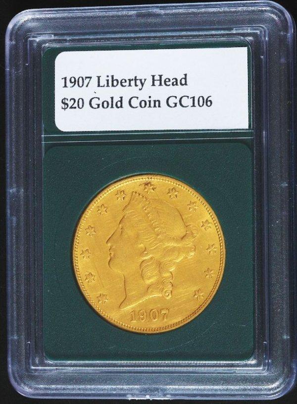 5: 1907 Liberty Head $20 Gold Coin GC106