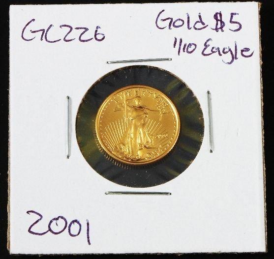 18: 2001 Gold Eagle $5 Gold 1/10 Coin GC226
