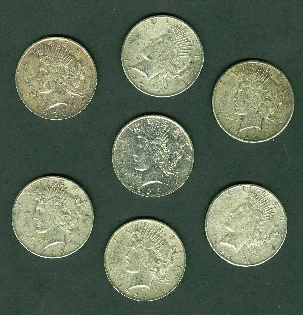 23: Collection of Peace (7) Silver Dollars K31