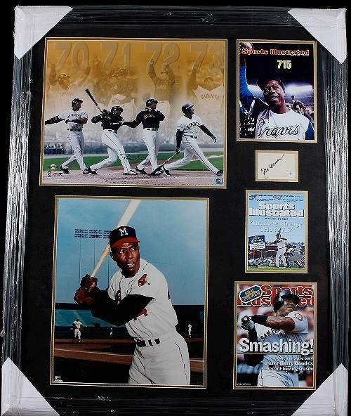 26: Barry Bonds/Hank Aaron Autographed Collage