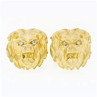 Vintage 14k Yellow Gold Large Detailed Diamond Eye Lion