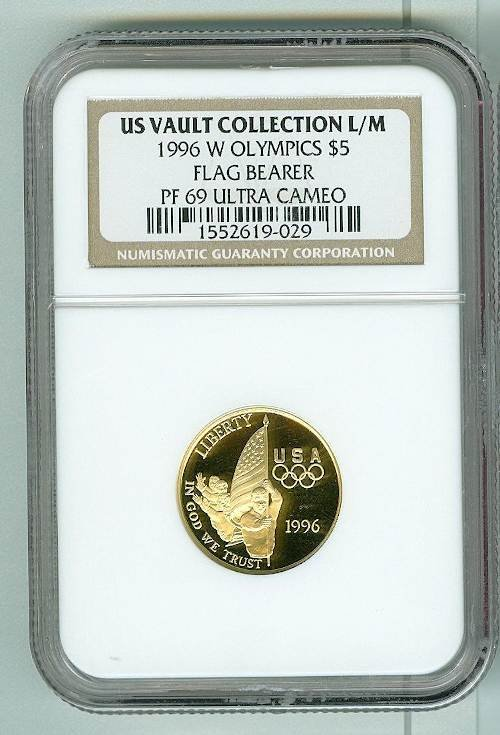 7: Olympics Flag Bearer 1996 Gold Ultra Cameo $5 Coin