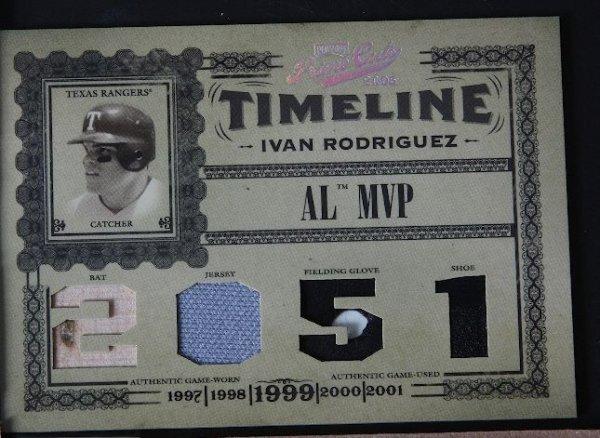 22: 2005 Prime Cuts Ivan Rodriguez Bat, Jersey, Glove &