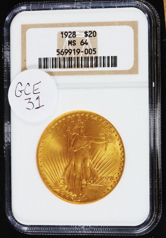 390: 1928 Saint Gauden's $20 Gold Coin MS64 GCE31
