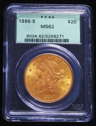 485: 1898-S Liberty Head $20 Gold Coin PCGS MS62 GCDF13