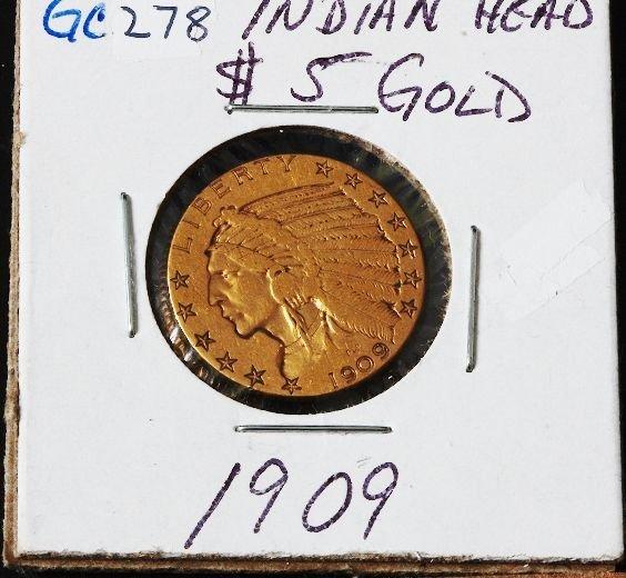 11: 1909 Indian Head $5 Gold Coin GC278