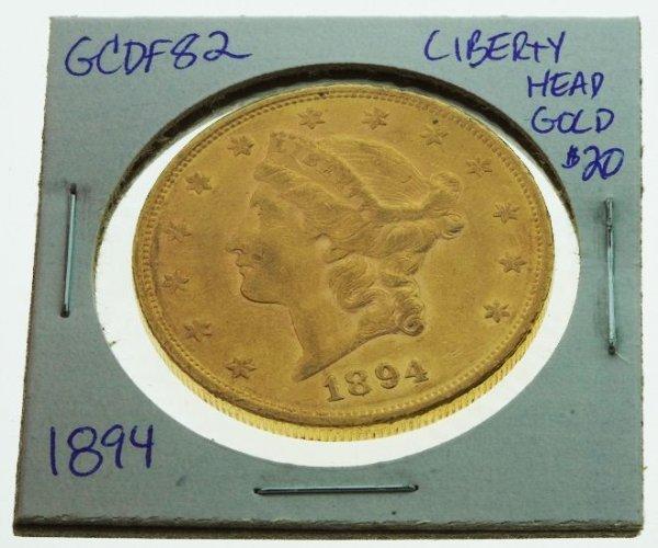 28: 1894 Liberty Head Double Eagle $20 Gold - GCDF82