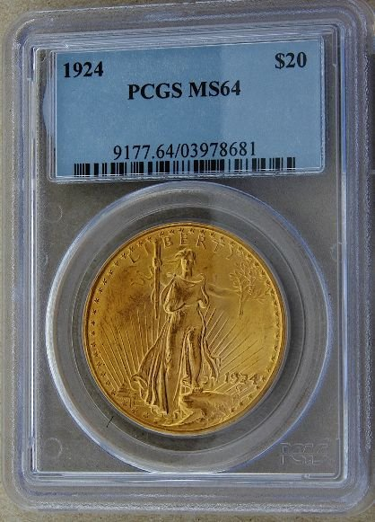 317: 1924 Saint Gaudens $20 Gold Coin MS64 GCDF188