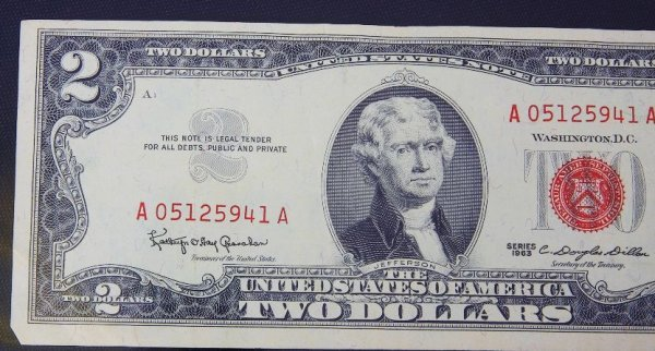 6: 1963 $2.00 Jefferson Red Seal Bill PM451