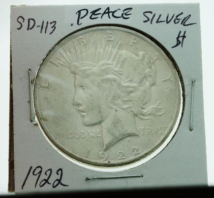 18: 1922 Peace Silver Dollar - SD113