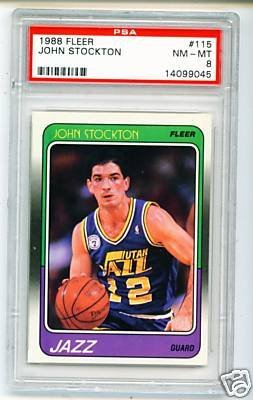 19: 1989 Fleer John Stockton Rookie Basketball Card PSA