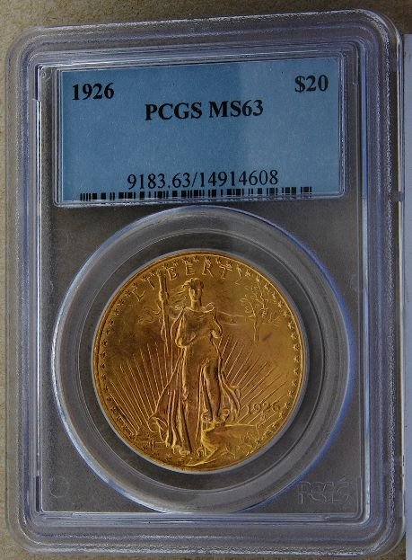 313: 1926 Saint Gaudens $20 Gold Coin MS63 GCDF186