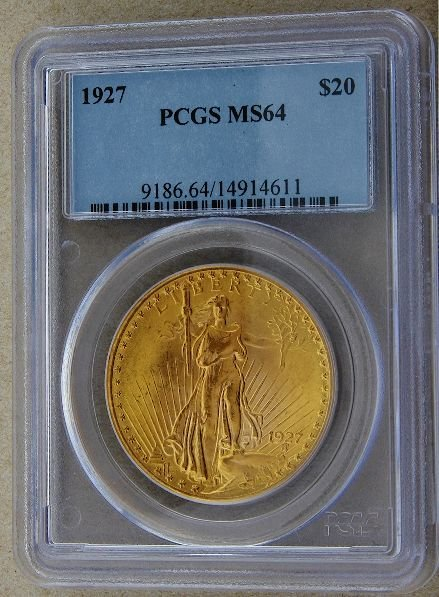 328: 1927 Saint Gaudens $20 Gold Coin MS64 GCDF189