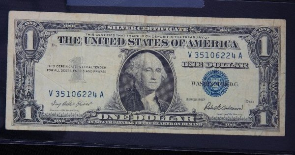 7: 1957 $1.00 Washington Silver Certificate PM1191