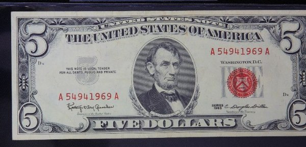 10: 1963 $5.00 Lincoln Red Seal Bill PM1015