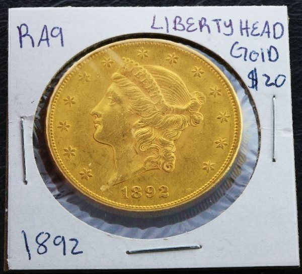 407: 1892 Liberty Head $20 Gold Coin XF+ RA9