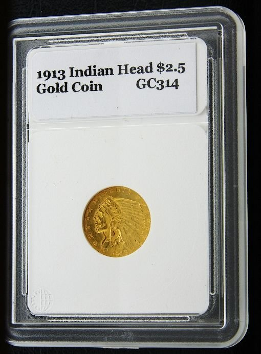 9: 1913 Indian Head $2.5 Gold Coin GC314
