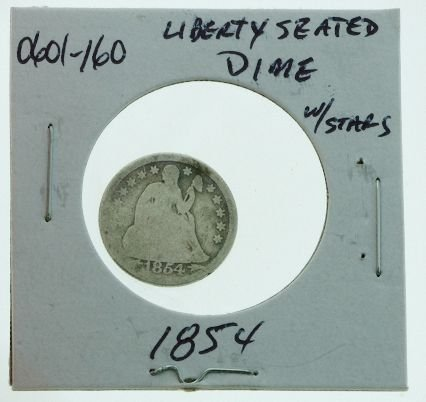 18: 1854 Seated Liberty Silver Dime 0601160