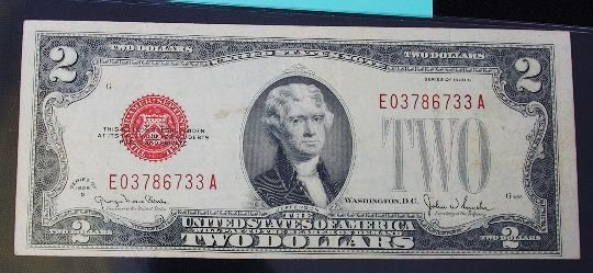 25: 1928 $2.00 Jefferson Red Seal Bill PM172