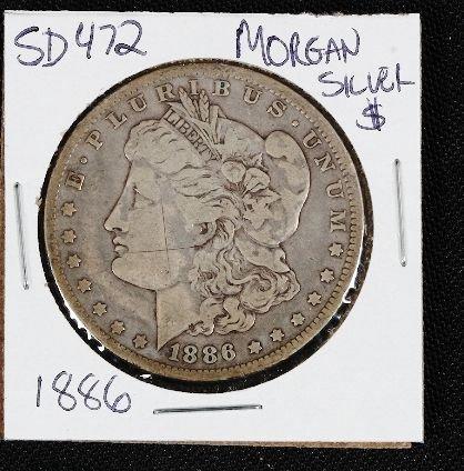 3: 1886 Morgan Silver Dollar SD472