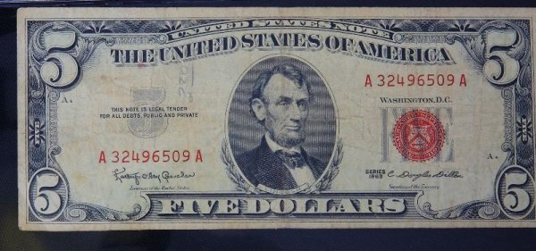 25: 1963 $5.00 Lincoln Red Seal Bill PM1026