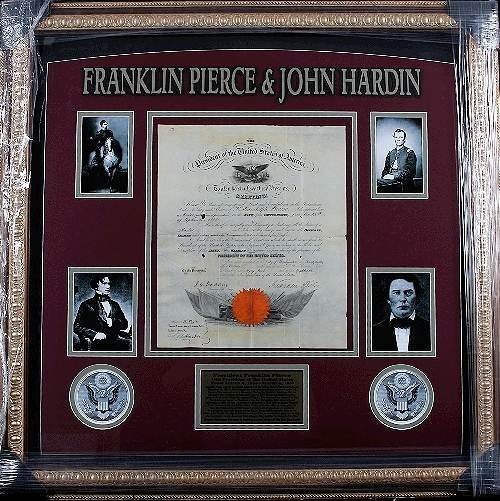 26: President Franklin Pierce & John Hardin Autographed