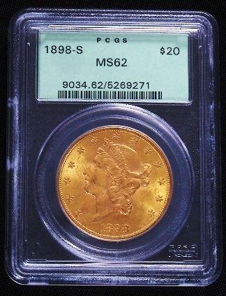 318: 1898-S Liberty Head $20 Gold Coin PCGS MS62 GCDF13