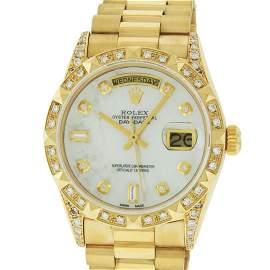 Rolex Mens 18K Yellow MOP Diamond Lugs President