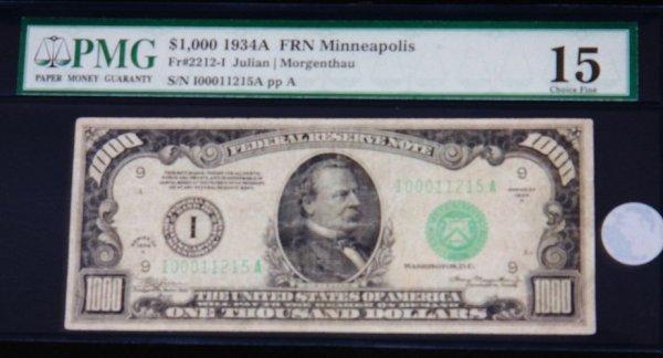 1: 1934A $1,000.00 Reserve Note PMG15 RA15