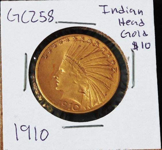 6: 1910 Indian Head $10 Gold Coin GC258